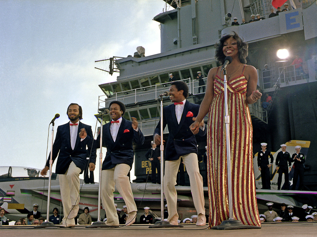 Gladys Knight & The Pips perform aboard the aircraft carrier USS Ranger